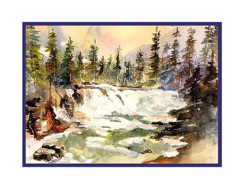 Watercolor Sacred Dancing Cascade Falls Note Cards Glacier National Park