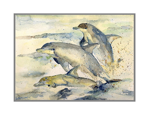 Watercolor Dolphins Note Cards