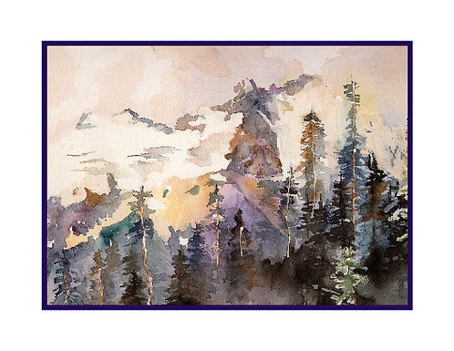 Watercolor Sunrise Park Cards
