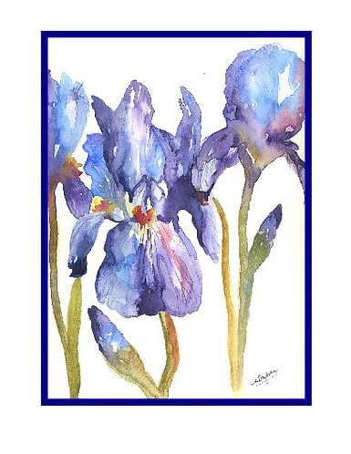 Purple Irises Watercolor Note Cards