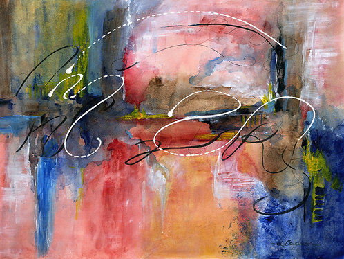 Original Acrylic and Ink Painting Grid Abstract