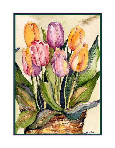 Tulips in a Basket Watercolor Note Cards
