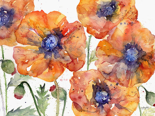 5 Poppies Watercolor Original Painting