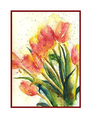 Tulip Bouquet Watercolor Note Cards