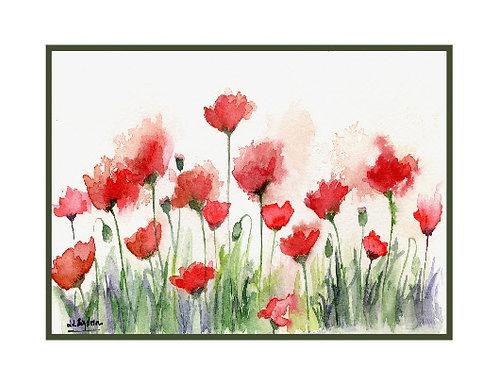 Poppy Field Watercolor Note Cards