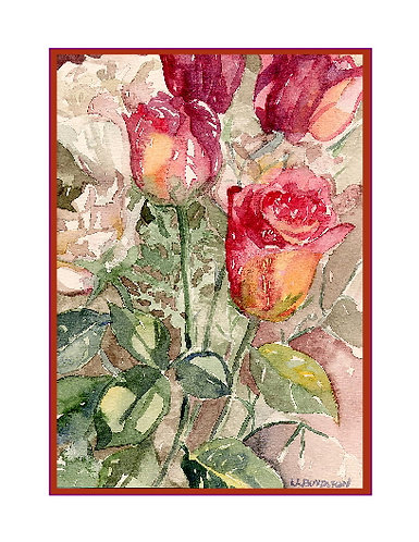 Valentine Roses Watercolor Note Cards