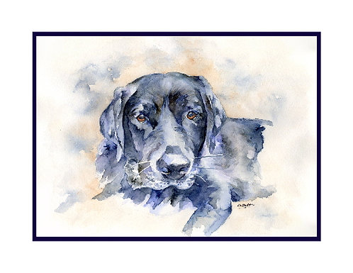Black Labrador Watercolor Note Cards