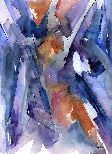 Original Acrylic and Watercolor Painting Shards of Glass Abstract