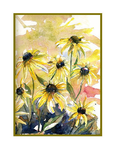 Yellow Cone Flowers Watercolor Note Cards