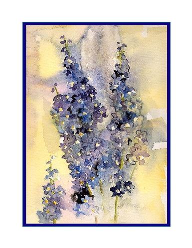 Watercolor Delphiniums Note Cards