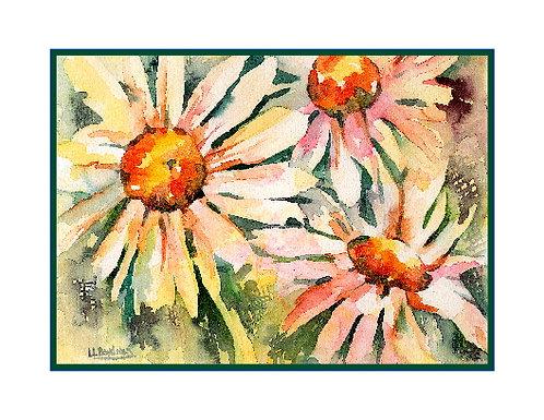Watercolor Daisy Trio Note Cards