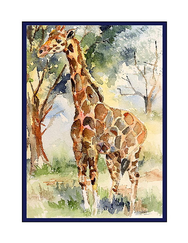 Watercolor Giraffe Note Cards