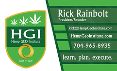 Hemp Geo Institute, LLC., Rick Rainbolt, Biz Card