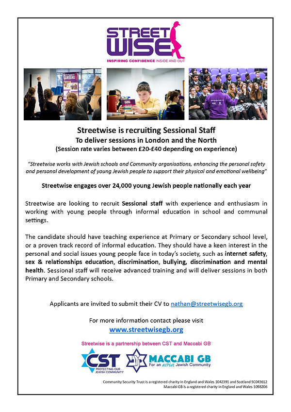 Streetwise advert - Sessional Staff 2019