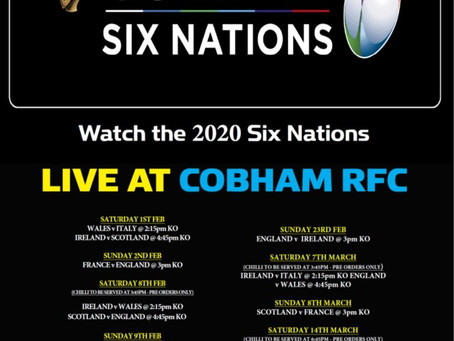 Round 3 of the 6 Nations @ Cobham RFC this weekend