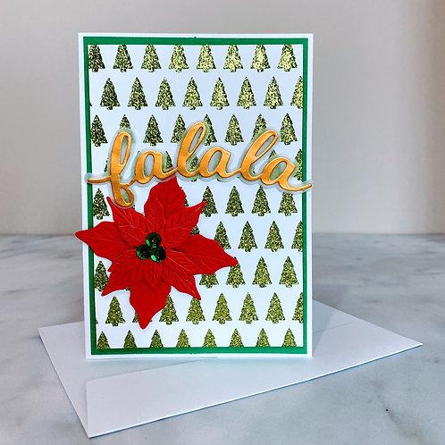 Sparkle and Poinsettia Card - Green