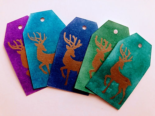 Gold Reindeer Gift Tags
