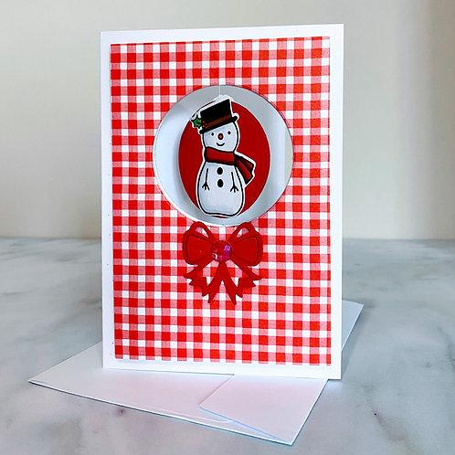 Spinner Snowman Christmas Card