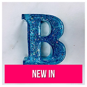 Resin letter B in blue with glitter