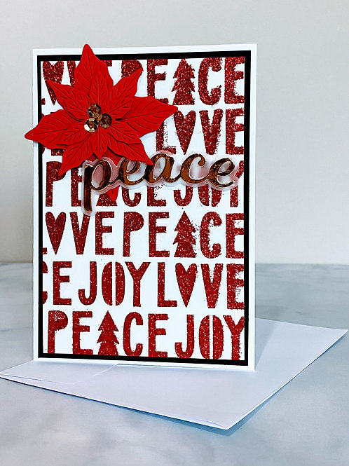 Sparkle and Poinsettia Card - Red