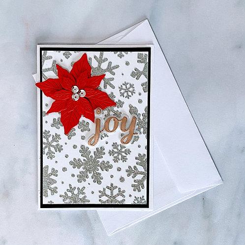 Sparkle and Poinsettia Card - Silver