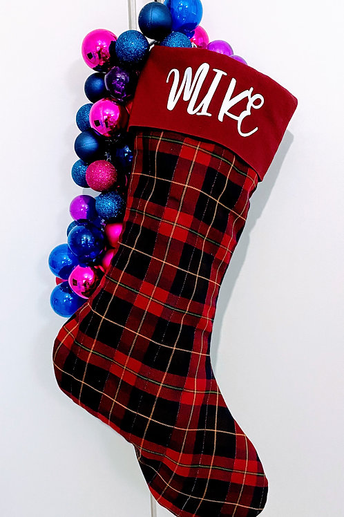 Giant Quilted Stocking - Tartan