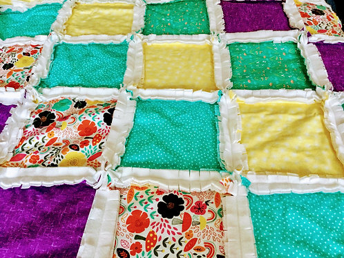 Quilted Rag Blanket - Brights