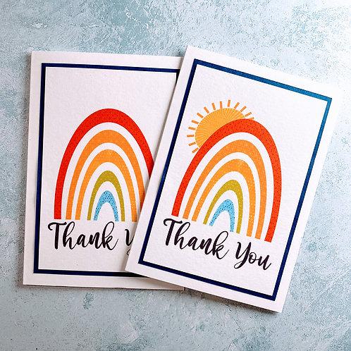 Printed Rainbow Thank You Card
