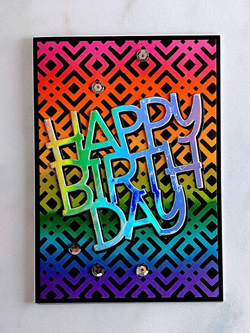 Rainbow and Black Happy Birthday Card