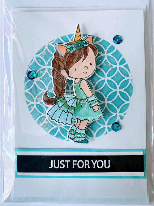 Just For You Unicorn Girl Card