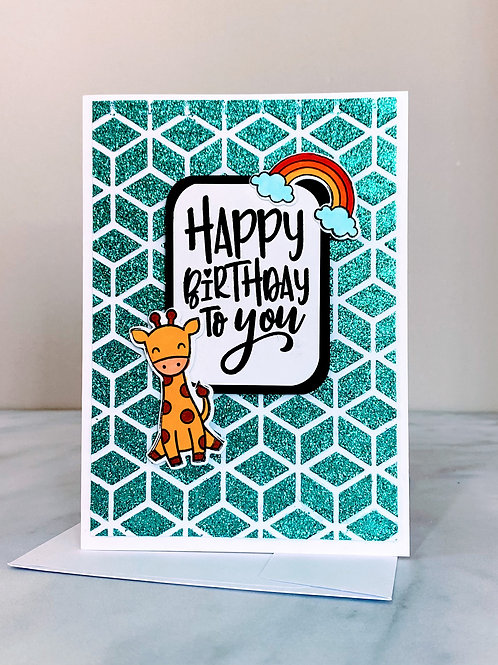 Sparkle Critter Birthday Card - Teal