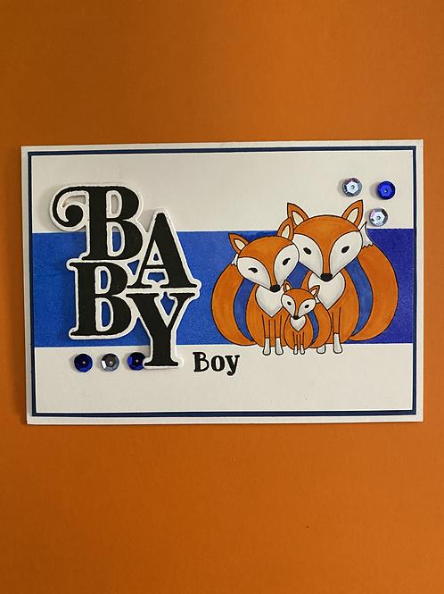 New Baby Card - Fox Family