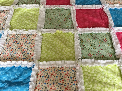 Quilted Rag Blanket - Florals