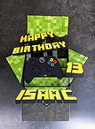 Custom handmade box birthday card for Minecraft fan
