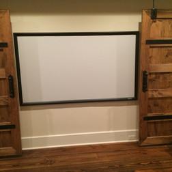 Home Theater Screen Behind Sliding Doors