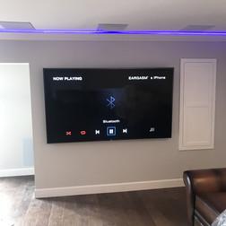 Media Room with Purple Neon Lights