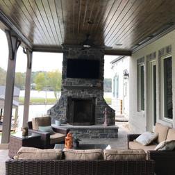 TV on Stone Fireplace