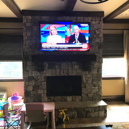 TV Install on Stone Fireplace Over Mantle