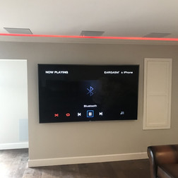 Media Room with Red Lights