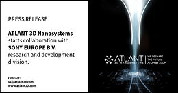 ATLANT 3D Nanosystems starts collaboration with Sony Europe B.V. research and development division.