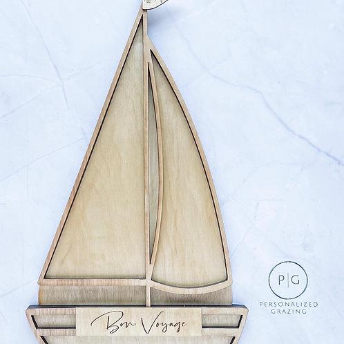 Bon Voyage Sail Boat Charcuterie Board