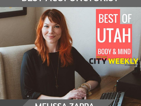 MELISSA ZAPPA VOTED 'BEST ACUPUNCTURIST' IN UTAH BY CITY WEEKLY!