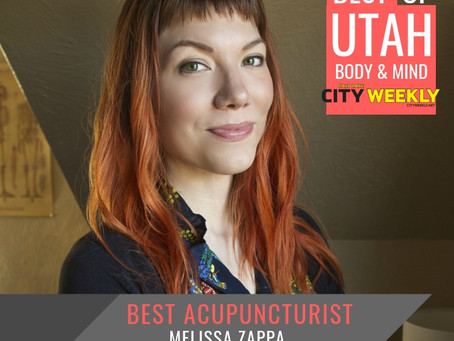Melissa Zappa wins 2019 BEST ACUPUNCTURIST in UTAH from voters CityWeekly Mind & Body annual pol