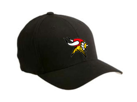 Bangor Vikings Flexfit Hat - Black w/ Red, White & Gold Embroidery