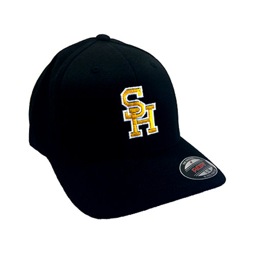 """South Haven """"SH"""" Rams Flexfit Hat - Black w/ Gold Embroidered"""