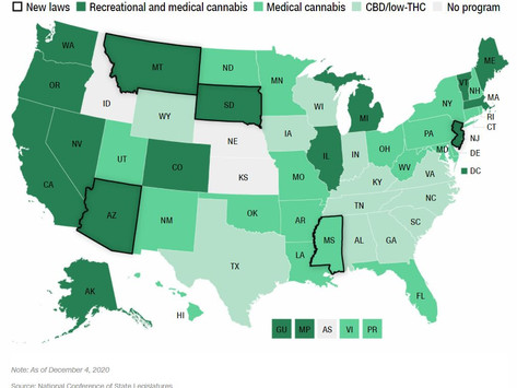 US: Four more states just legalised recreational cannabis