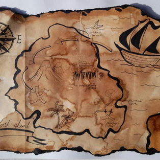 Treasure Map Coffee Painting