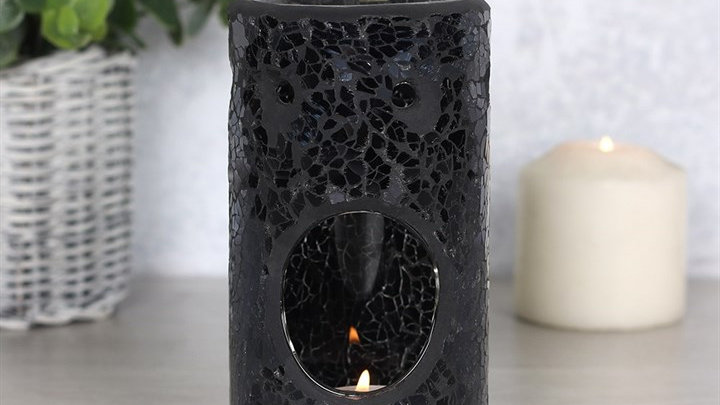 Black Crackle Pillar Oil Burner