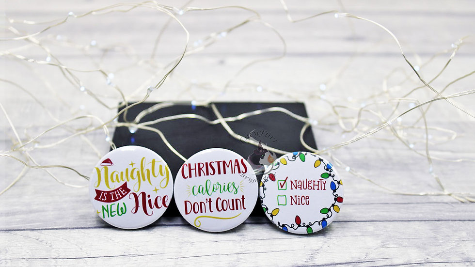 Naughty Christmas Funny Button Badge Set