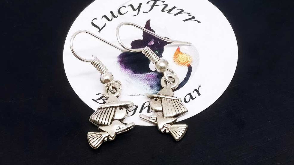 Flying Witch Tibetan Silver Earrings